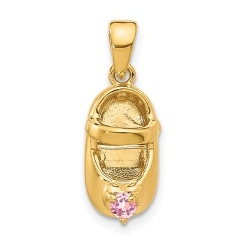 14k 3-D October/Synthetic Stone Engraveable Shoe Charm