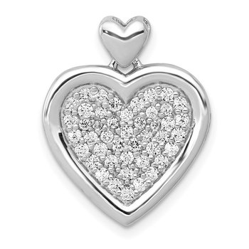 14k White Gold 1/4ct. Diamond Fancy Heart w/ Heart Bail Pendant