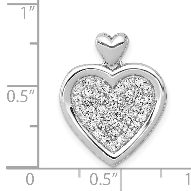 Quality Gold 14k White Gold 1/4ct. Diamond Fancy Heart w/ Heart Bail Pendant