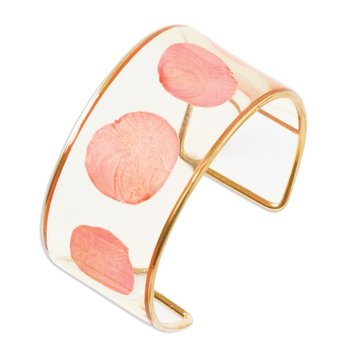 24K Gold-trim Pink Rose Petal Cuff Bangle Bracelet