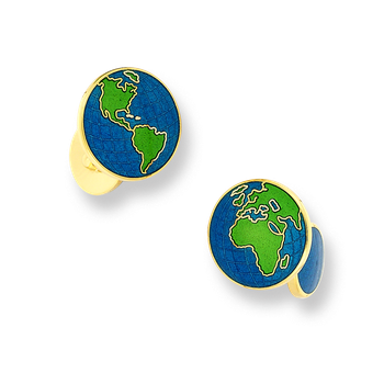 18 Karat Gold Earth Cufflinks-Blue