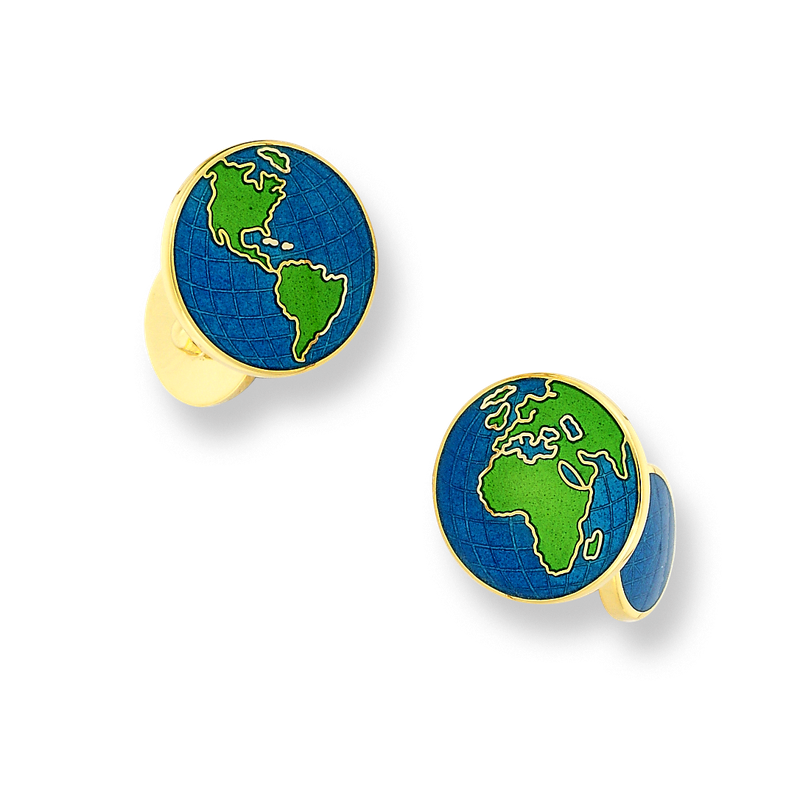 Nicole Barr Designs 18 Karat Gold Earth Cufflinks-Blue