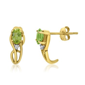 14K Yellow Gold Curved Peridot and Diamond Earrings
