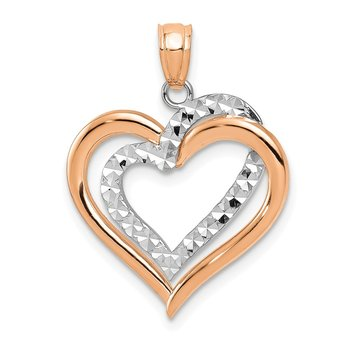 14K Two-tone Polished Diamond-cut Intertwined Hearts Pendant