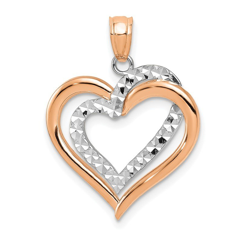 Quality Gold 14K Two-tone Polished Diamond-cut Intertwined Hearts Pendant