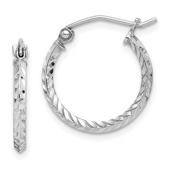 Sterling Silver Rhodium Plated Diamond Cut Hoop Earrings