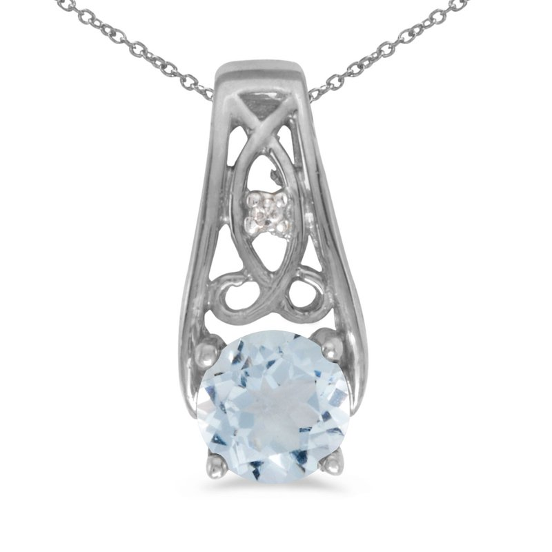 Color Merchants 10k White Gold Round Aquamarine And Diamond Pendant