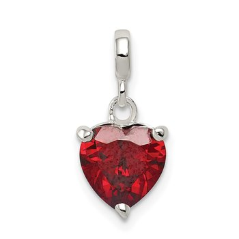 Sterling Silver Dark Red CZ Heart Enhancer