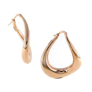 18KT GOLD MODERN TWIST HOOP EARRINGS
