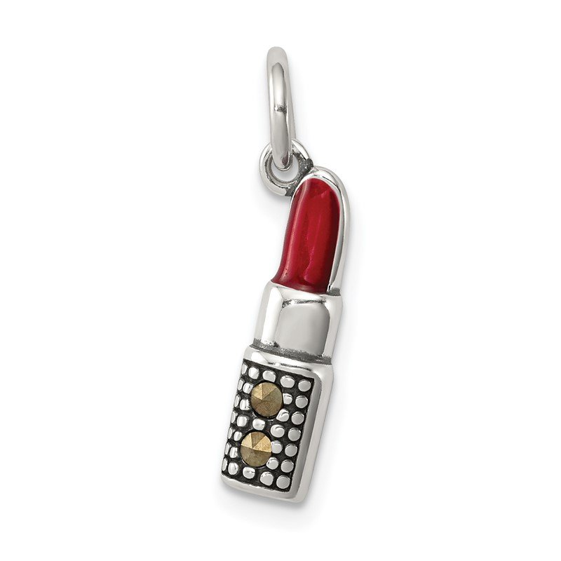 Quality Gold Sterling Silver Enameled Lipstick Charm