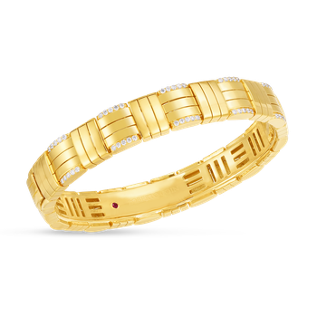 18K VENETO WOVEN WIDE SINGLE ROW CUFF BANGLE W. DIAMOND ACCENT