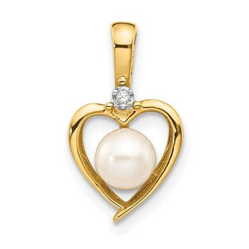 14k FW Cultured Pearl and Diamond Heart Pendant