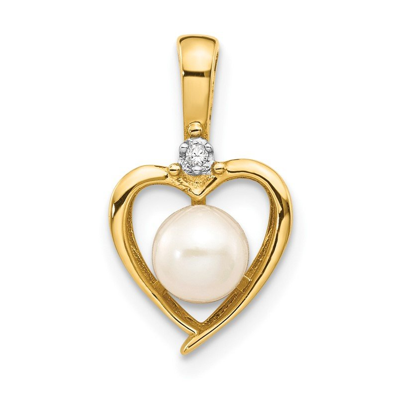 Quality Gold 14k FW Cultured Pearl and Diamond Heart Pendant