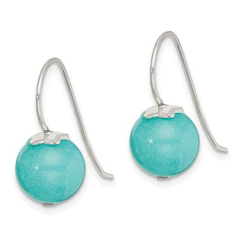Sterling Silver Blue Quartz 10mm Shepherd Hook Earrings