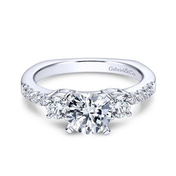 14K White Gold Round Three Stone Diamond Engagement Ring