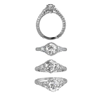 0.94 CTW Cascade Cushion Halo Ring w/ RD center