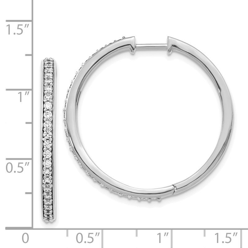 JC Sipe Essentials 14k White Gold Diamond Hinged Hoop Earrings