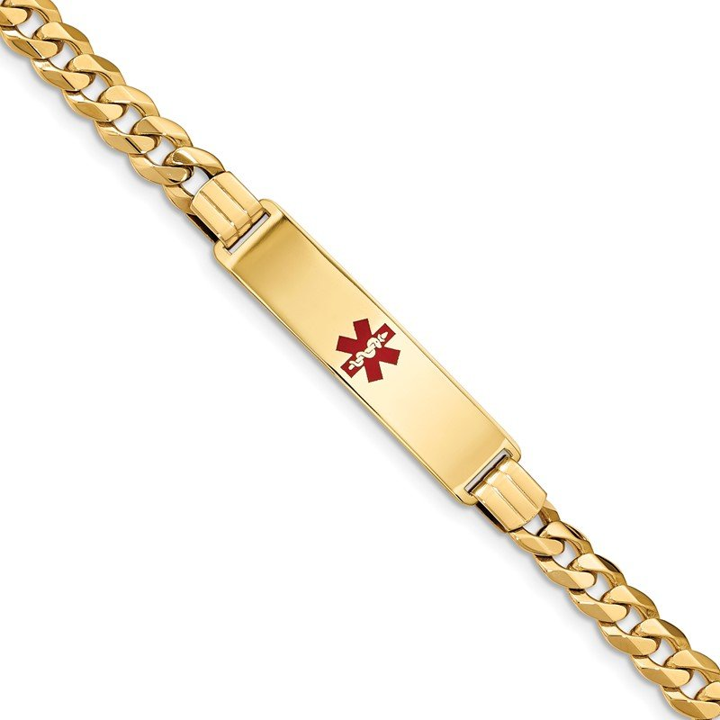 Quality Gold 14K Medical Red Enamel Flat Curb Link ID Bracelet