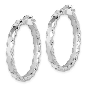 Sterling Silver RH-plated Scalloped Edge 4mm Hoop Earrings
