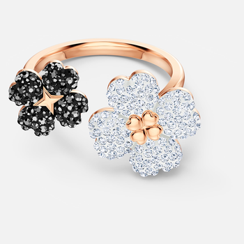 Latisha Ring, Black, Rose-gold tone plated