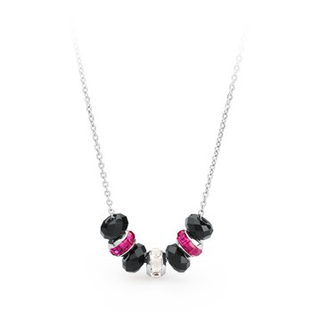316L stainless steel, onyx, fuchsia and white Swarovski® Elements crystals.