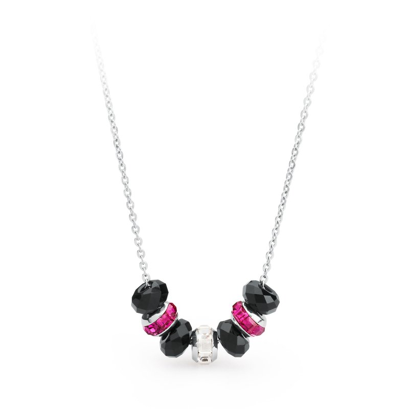 Brosway 316L stainless steel, onyx, fuchsia and white Swarovski® Elements crystals.