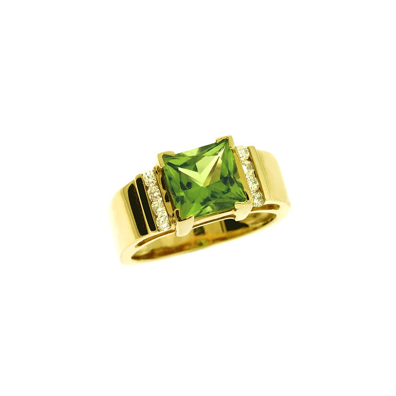 S. Kashi  & Sons Peridot. & Diamond Ring