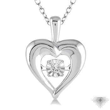 Silver Emotion Diamond Heart Pendant