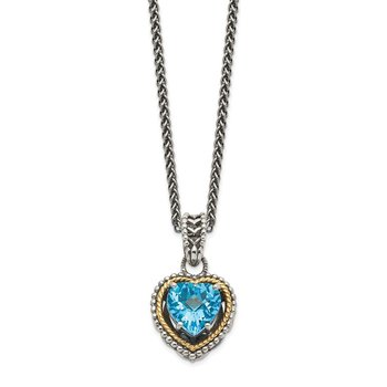 Sterling Silver w/14k Antiqued Blue Topaz Heart Necklace