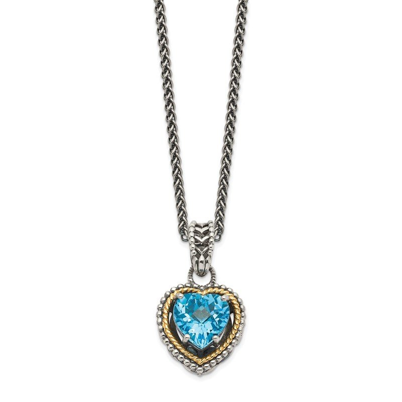 Quality Gold Sterling Silver w/14k Antiqued Blue Topaz Heart Necklace