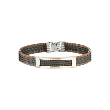 Bronze & Black Cable Bracelet with 18kt Yellow Gold Open Rectangular Station