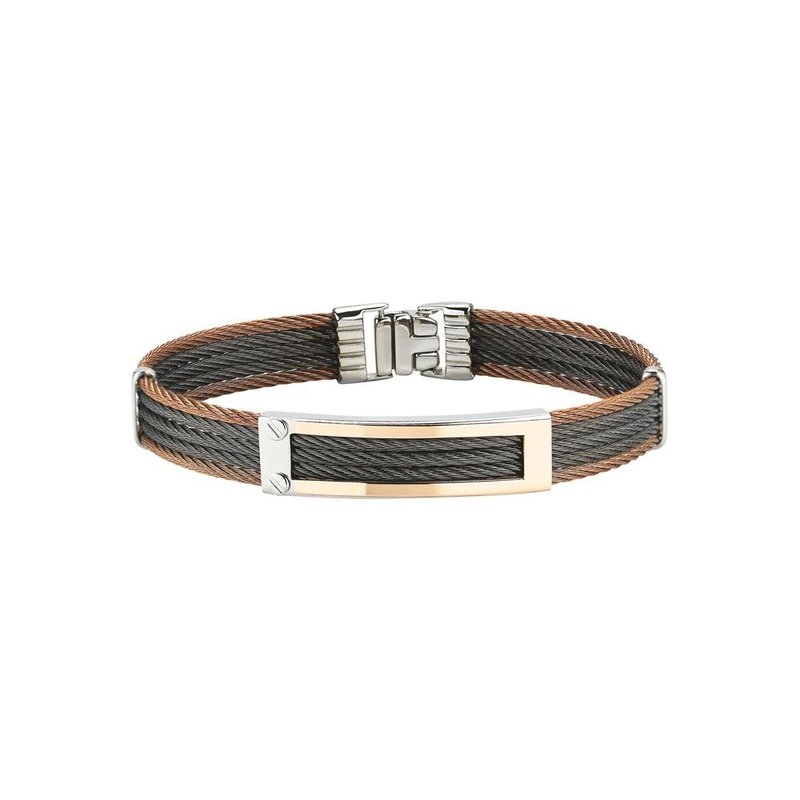 ALOR Bronze & Black Cable Bracelet with 18kt Yellow Gold Open Rectangular Station