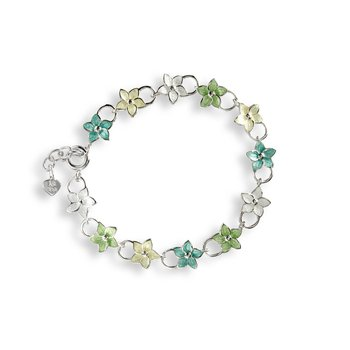 Multi Stephanotis Chain-link Bracelet.Sterling Silver