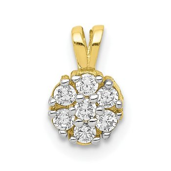 10k Small CZ Flower Charm