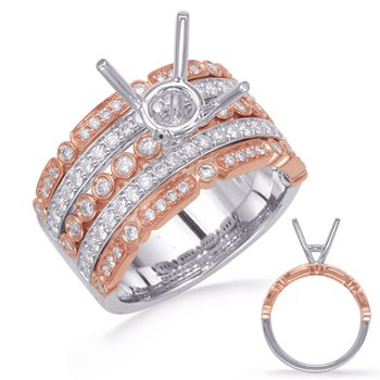 Rose & White Gold Diamond Engagement Rin