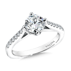 Valina Bridals Mounting with side stones .17 ct. tw., 1 ct. round center.