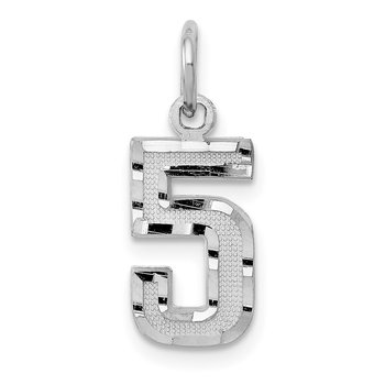 14kw Casted Small Diamond Cut Number 5 Charm