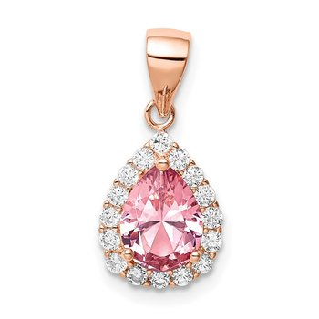 Sterling Silver Rose-tone Pink Crystal Center and CZ Teardrop Pendant