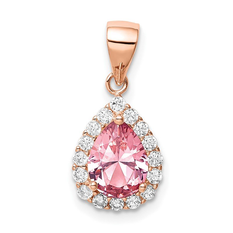 Quality Gold Sterling Silver Rose-tone Pink Crystal Center and CZ Teardrop Pendant