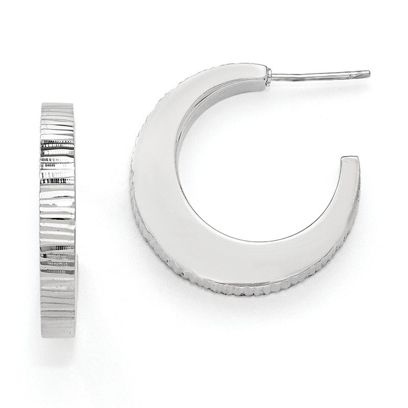 Leslie's Leslie's SS Radiant Essence Rhodium-plated Post Hoop Earrings