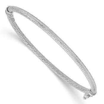 Leslie's 10k White Gold Polished and Textured Hinged Bangle