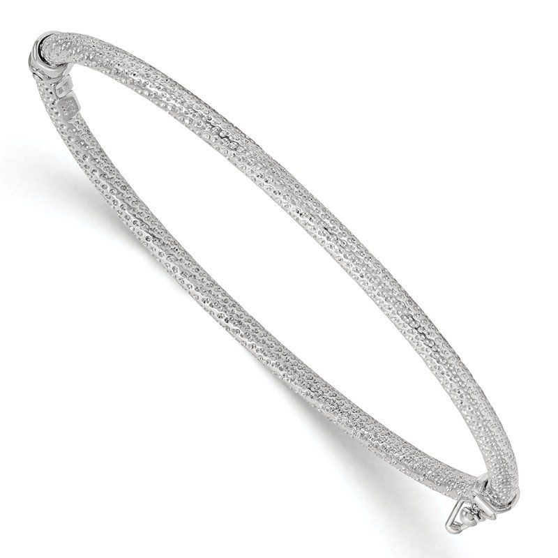 Leslie's Leslie's 10K White Gold Polished and Textured Hinged Bangle