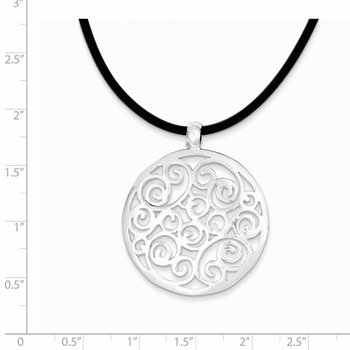 Sterling Silver Round Fancy Pendant Cord Necklace