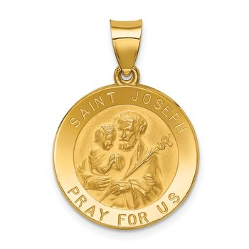 14k Polished and Satin St Joseph Medal Hollow Pendant