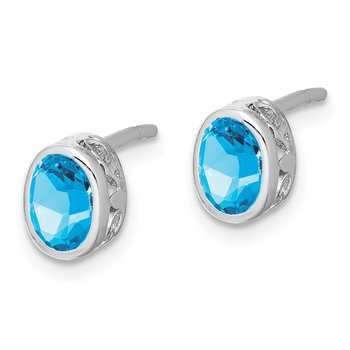 Sterling Silver Rhodium-plated Polished Blue Topaz Oval Post Earrings