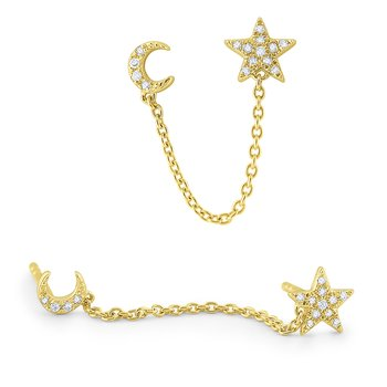Gold and Diamond Moon and Star Single Earring