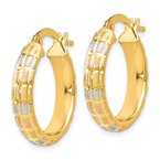 Leslie's Leslie's 14K w/White and Rose Rhodium Satin Hoop Earrings