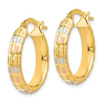 Leslie's 14K w/White and Rose Rhodium Satin Hoop Earrings
