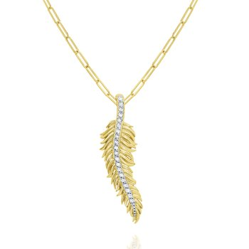 14k Gold and Diamond Feather Necklace