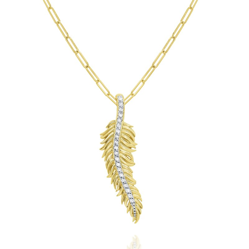 MAZZARESE Fashion 14k Gold and Diamond Feather Necklace
